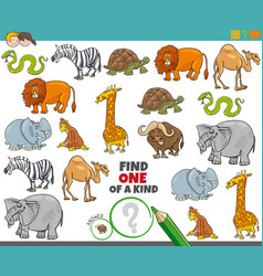 One a kind game for kids with animals vector