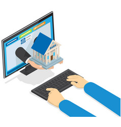 online banking concept with hands holding bank vector image