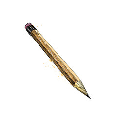 pencil from a splash watercolor hand drawn vector image