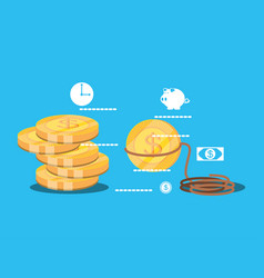 pile of coins dollar isolated icon vector image