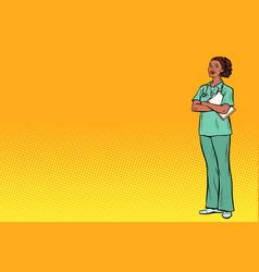 Pop art african nurse medicine and health vector