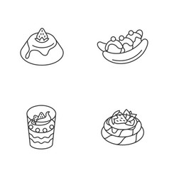 Popular sweets linear icons set vector