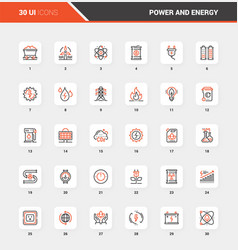 power and energy flat line web icon concepts vector image