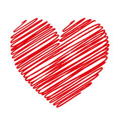 red heart scribble with lines texture on white vector image