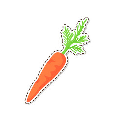 Ripe carrot flat isolated sticker or icon vector