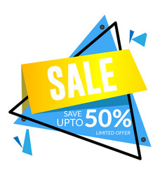 sale save up to 50 limited offer triangle frame v vector image
