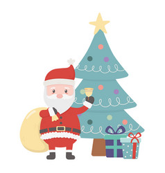 santa with bag bell tree and gifts celebration vector image