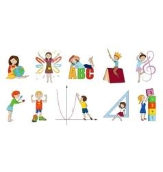 School subjects cartoon vector image