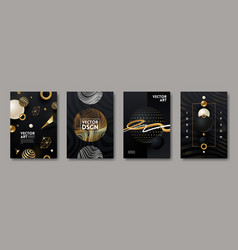 set abstract black and gold design vector image