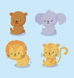 Set animal for bacard and invitation vector