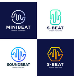 Set audio sound wave logo template stock design vector