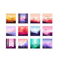 set of beautiful flat cartoon landscapes with vector image