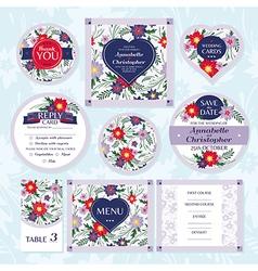 Set of floral wedding cards vector image