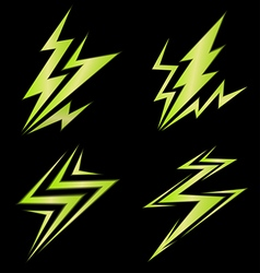 set of green signs of electricity vector image