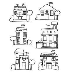 set of house style hand draw vector image