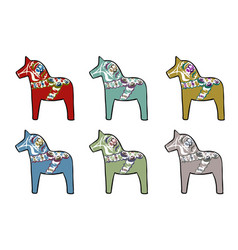 set of traditional swedish horses vector image