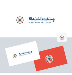 Sheild protected logotype with business card vector