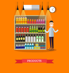 Shelves with products in flat vector