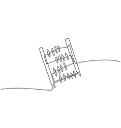 Single one line drawing abacus tool vector