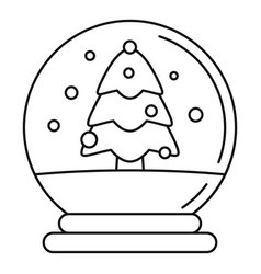 snow tree glass ball icon outline style vector image
