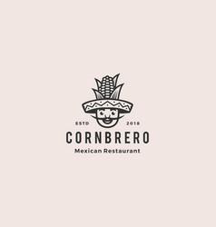 sombrero hat corn mexican restaurant logo mascot vector image