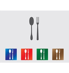 Spoon and fork icons vector image