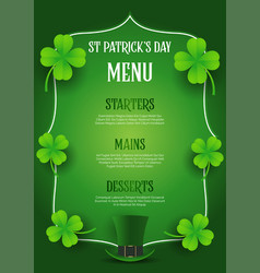 st patricks day menu design with top hat and vector image