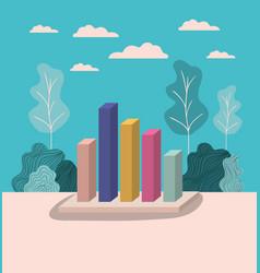 statistics bars with forest landscape vector image