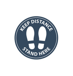 Steps on floor in circle keep distance in line vector