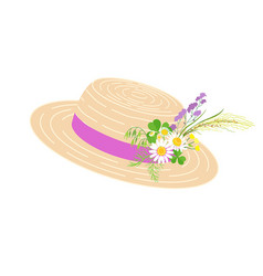 straw hat with pink ribbon and wild flowers vector image