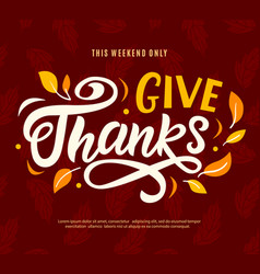 Thanksgiving day sale banner template give thanks vector