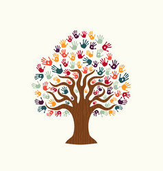Tree hand of diverse people team help vector
