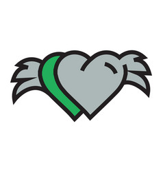 two hearts with wings green vector image