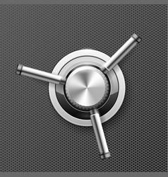 Vault safe door - wheel with three handles of vector