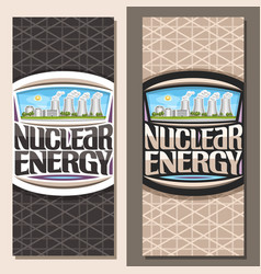 Vertical banners for nuclear energy vector