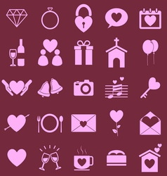 Wedding color icons on pink background vector