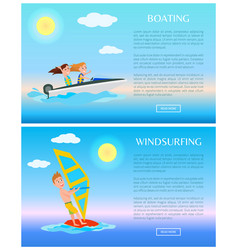 windsurfing and boating water sports vector image