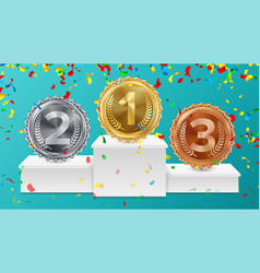winner pedestal with gold silver bronze medals vector image