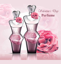 Women perfume bottle delicate rose fragrance vector