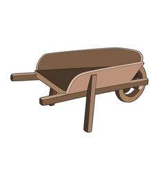 Wooden wheelbarrow vector