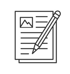Writing essay linear icon vector