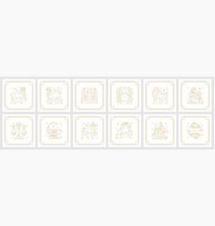 Zodiac astrology horoscope signs linear design vector