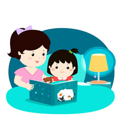 a of a mother reading a bedtime vector image vector image