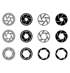 Camera shutter aperture icons vector image vector image
