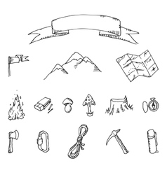 Camping adventure set doodle vector image