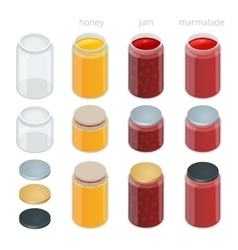 Glass jar with with jam configure or honey vector image vector image