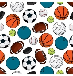 Balls and pucks for team games seamless pattern vector image
