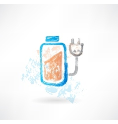 Battery grunge icon vector