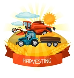 Combine harvester and tractor on wheat field vector