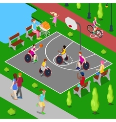 Disabled People Playing Basketball in the Park vector image